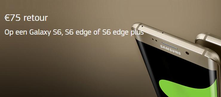 Nu 75 euro cashback bij aanschaf Samsung GALAXY S6/edge/edge plus