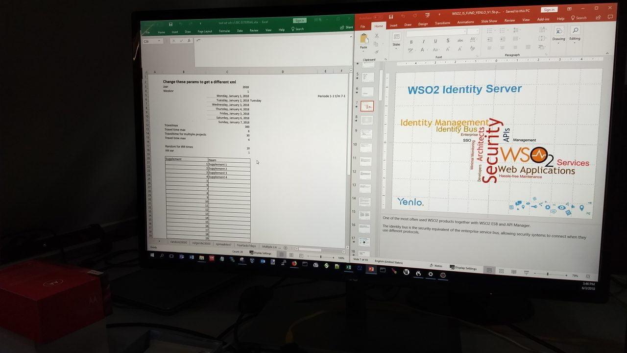 Powerpoint en Excel naast elkaar